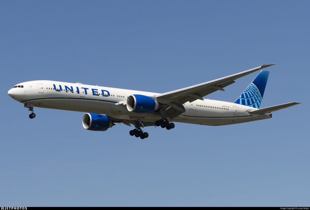 A United Airlines 777 currenting operarting for the Civil Reserve Air Fleet