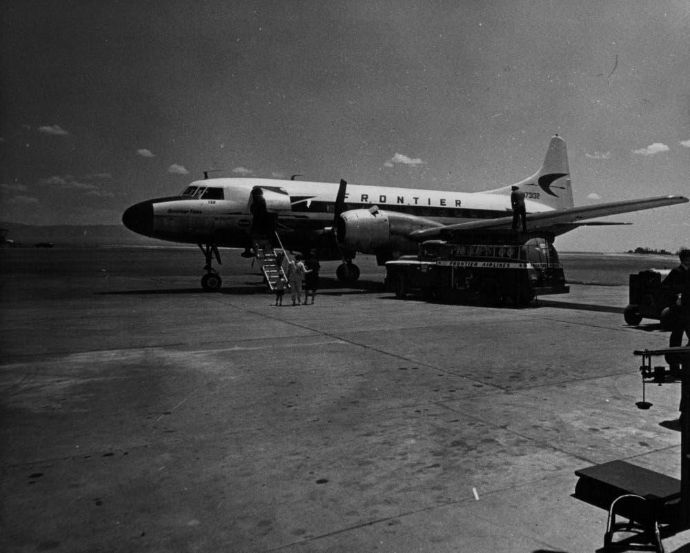 JUL 11 1963, JUL 21 1963; Frontier Airlines Convair on inaugural non-stop flight from Denver Unloads