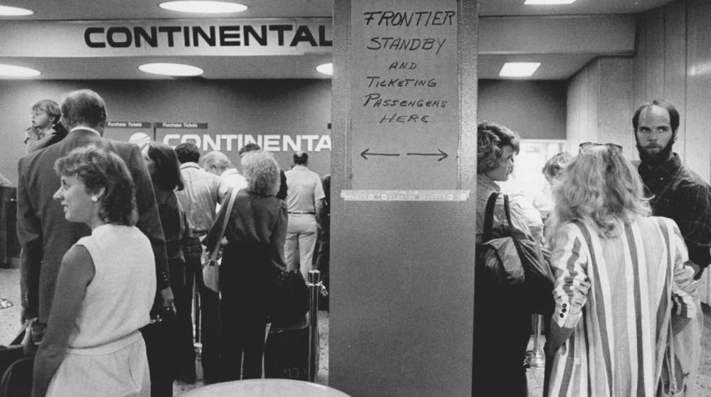 8/24/1986, 9-1986; Stapleton Closing of Frontier Airlines shot of people waiting at the continental