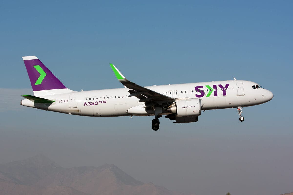 A Sky Airline Airbus 320 NEO landing at Santiago airport