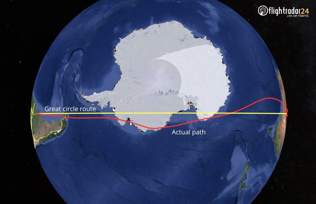 Qantas QF14 great circle route vs actual flight path